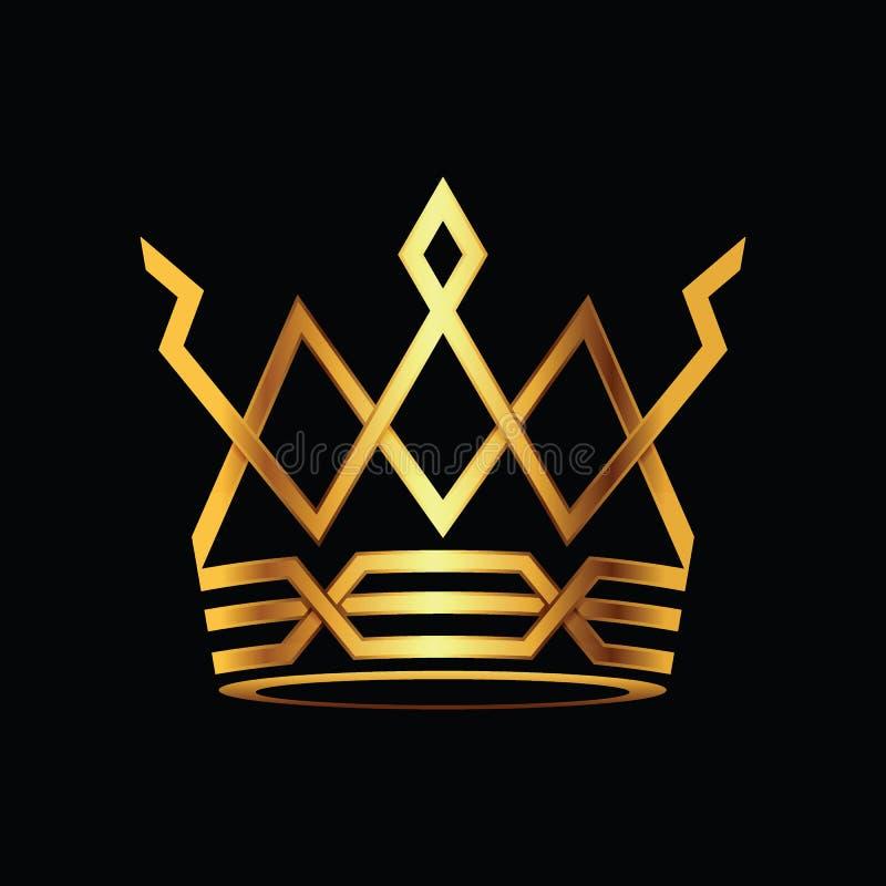 Logovektor der Krone moderner Gold stock abbildung