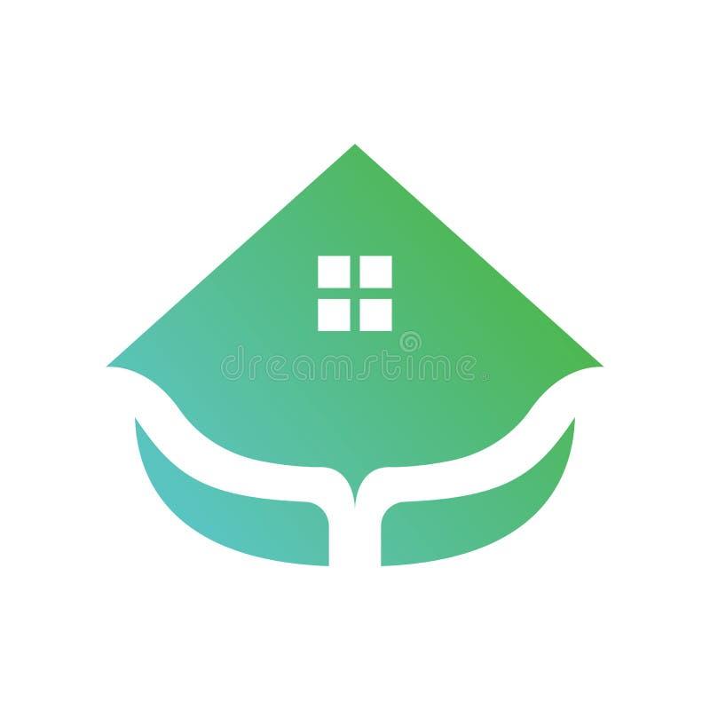 Logovektor des gr?nen Hauses lizenzfreie abbildung