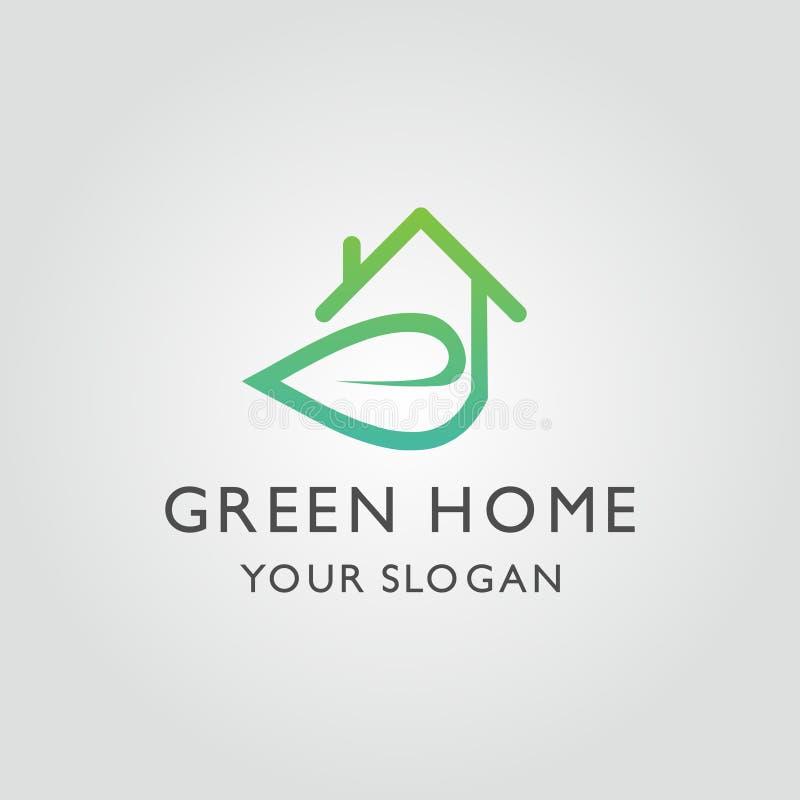 Logovektor för grönt hus med bladet och hem- begrepp vektor illustrationer