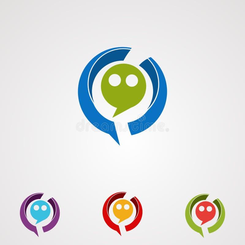 Logovektor, -ikone, -element und -schablone des funy Gesichtes des Kreisschwätzchenesprits bunter für Firma lizenzfreie abbildung
