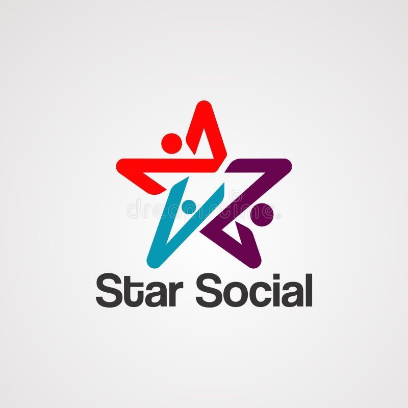 Logovektor, symbol, beståndsdel och mall för stjärna social vektor illustrationer