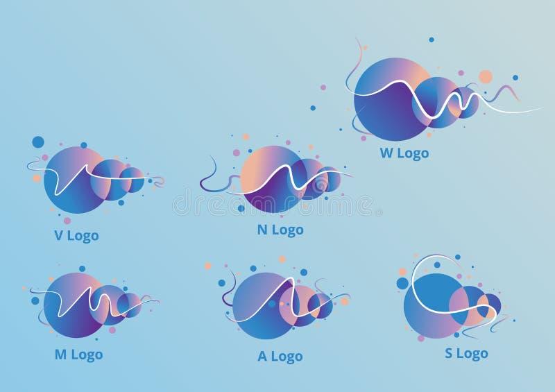 Logovektor A, W, M, V, N, flaches Design bstract Kreis S lizenzfreie abbildung