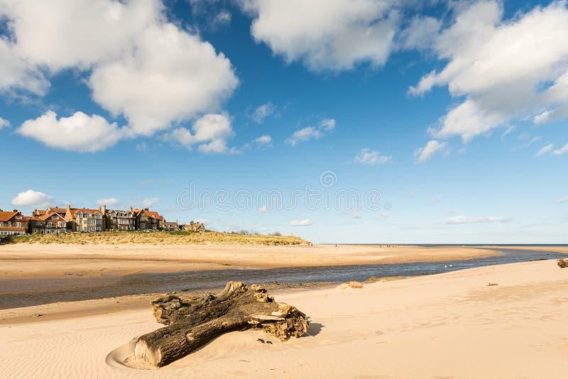 Logował się Alnmouth plażę obraz stock