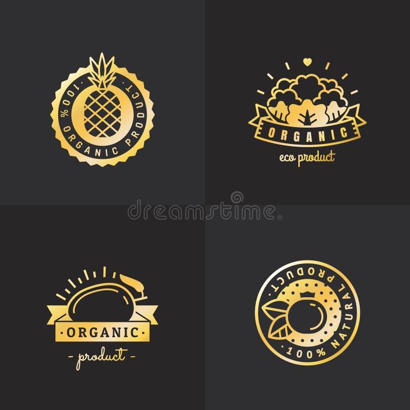 Logoweinlese-Vektorsatz des biologischen Lebensmittels Gold Teil drei vektor abbildung