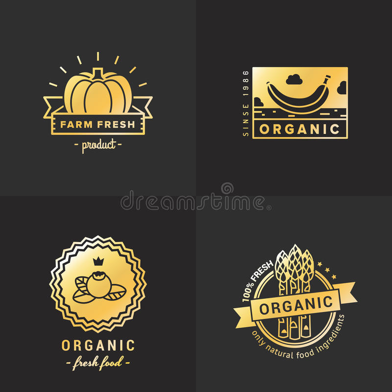 Logoweinlese-Vektorsatz des biologischen Lebensmittels Gold Teil sieben vektor abbildung