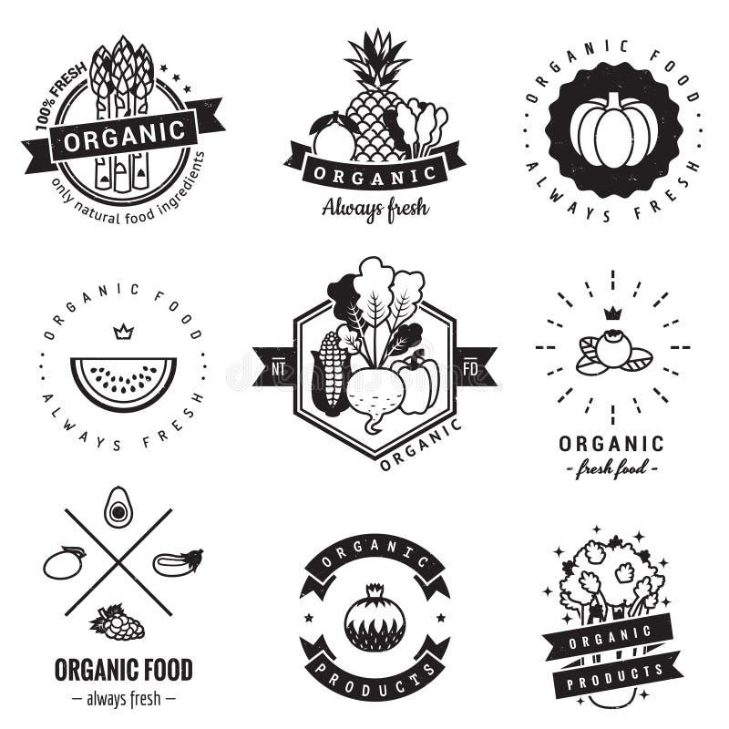 Logoweinlese-Vektorsatz des biologischen Lebensmittels Hippie und Retrostil stock abbildung