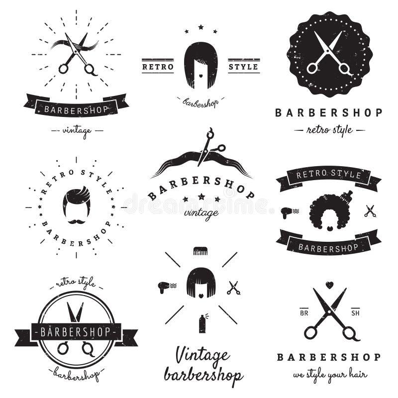 Logoweinlese-Vektorsatz des Friseursalons (Friseursalon) Hippie und Retrostil vektor abbildung