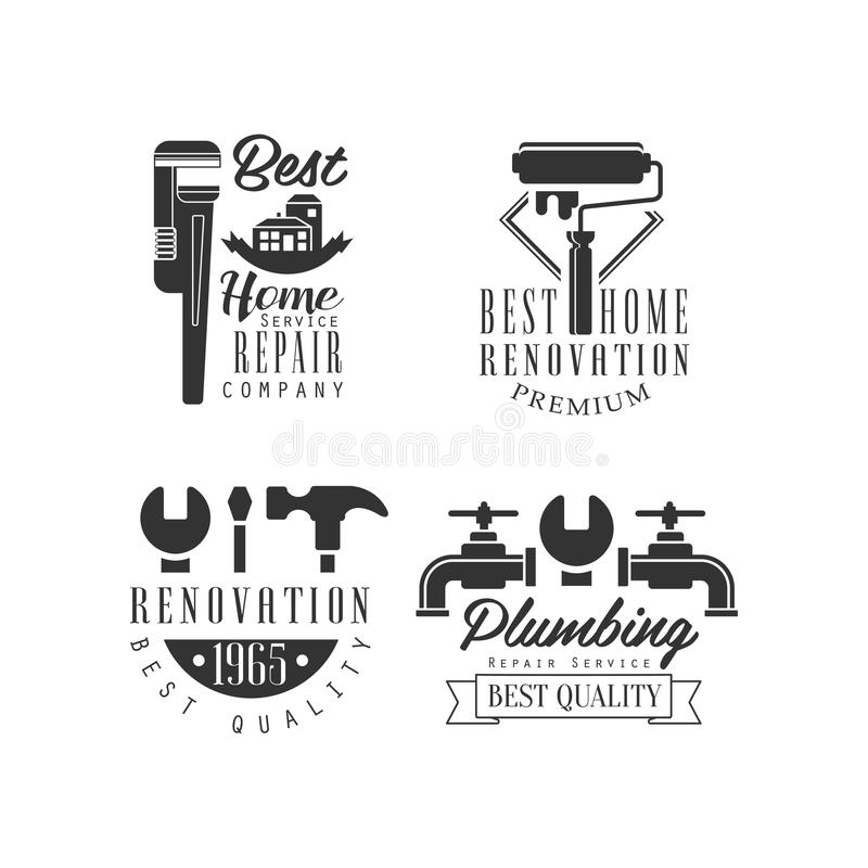 Logowie dla pionować usługa i naprawiać Domowa odświeżanie firma Monochromatyczni wektorowi emblematy z narzędziami, wodnymi klep royalty ilustracja
