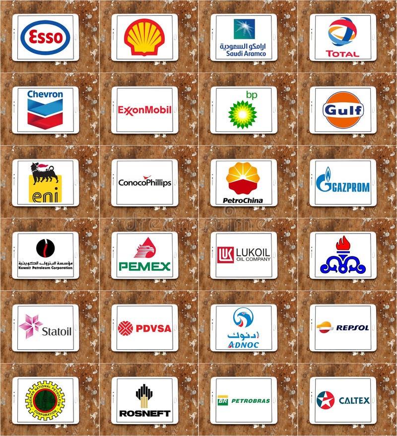 Logowie globalni firma naftowo-gazowa obrazy stock