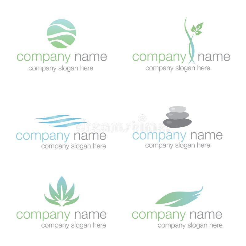 logowie ustawiają sześć zdrojów wektorowego wellness ilustracji