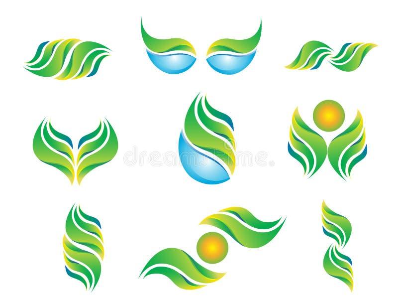 Logozusammenfassungsbetriebsfrühlinges der Wasserblattsonnensymbolikone Gesundheits-Ökologievektor des gesetzten natürlicher vektor abbildung