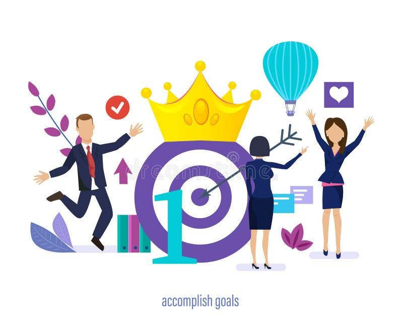 Logre las metas Plan del cumplimiento, logro de altas metas, logrando beneficio ilustración del vector