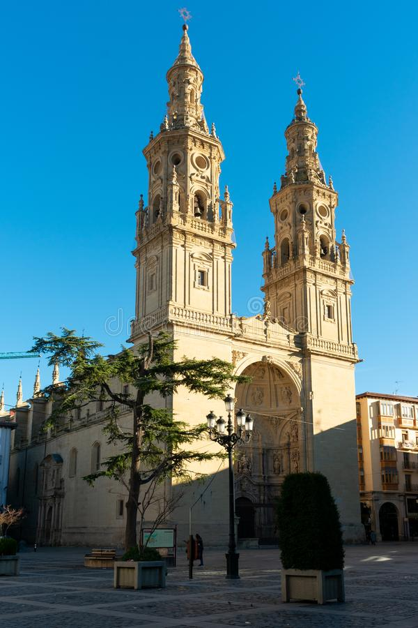 Logroño, La Rioja/Spain; 30/12/18: Cathedral of Santa Maria de la Redonda in Logroño, Spain. Facade, religious, tower, spanish, christianity stock image