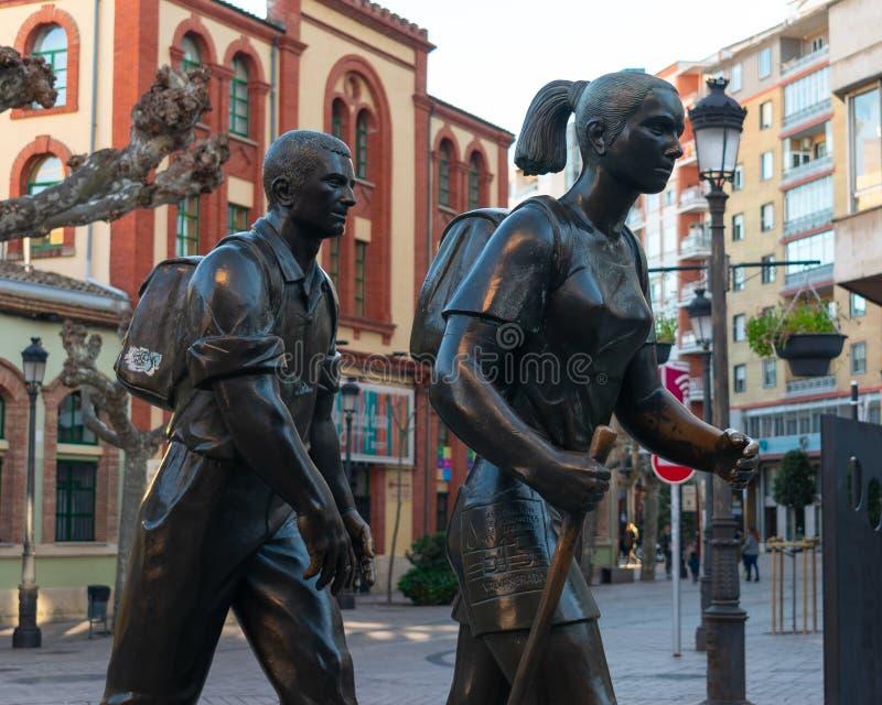 Logrono, La Rioja/Spain; 30/12/18: Monument to pilgrims in Logrono, Spain. Logrono, La Rioja/Spain; 30/12/18: Monument to pilgrims in Logroño, Spain royalty free stock photos