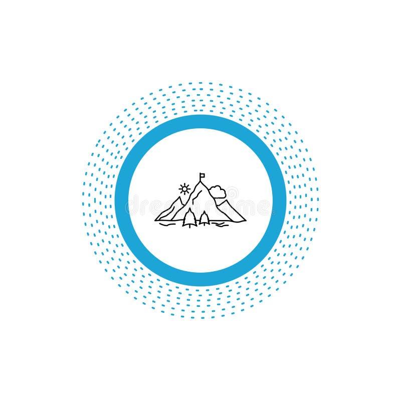logro, bandera, misión, montaña, línea icono del éxito Ejemplo aislado vector ilustración del vector