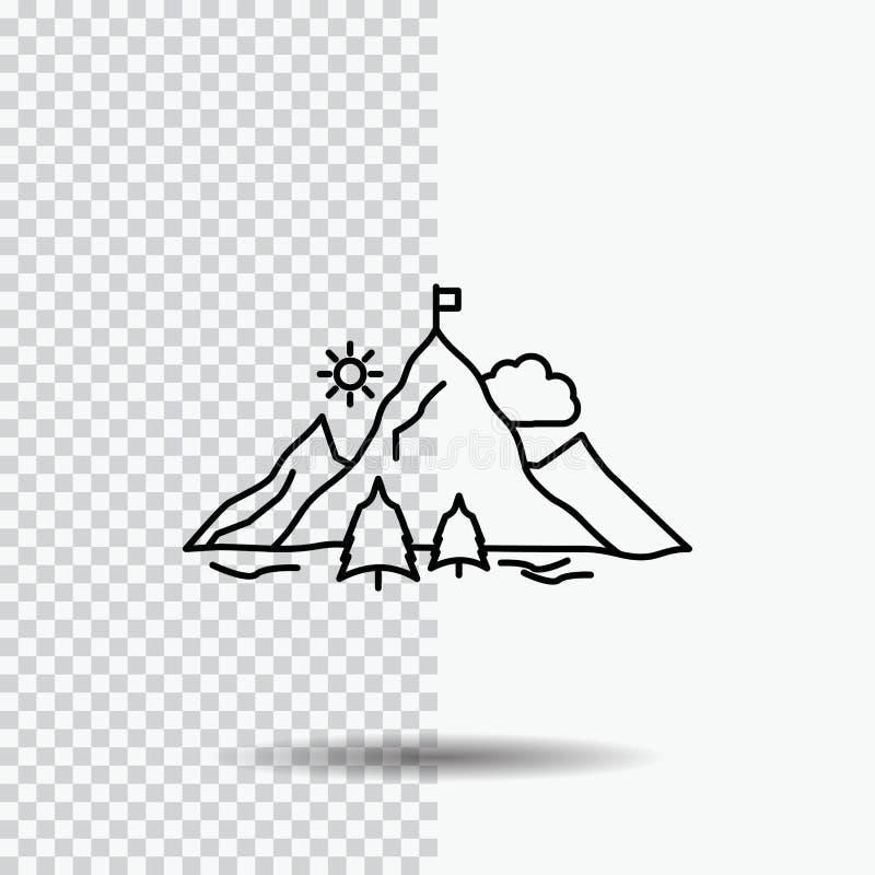 logro, bandera, misión, montaña, línea icono del éxito en fondo transparente Ejemplo negro del vector del icono ilustración del vector