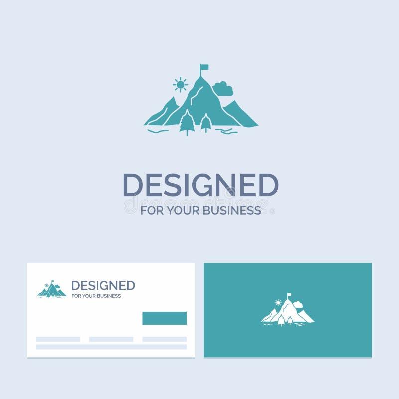 logro, bandera, misión, montaña, negocio Logo Glyph Icon Symbol del éxito para su negocio Tarjetas de visita de la turquesa con libre illustration