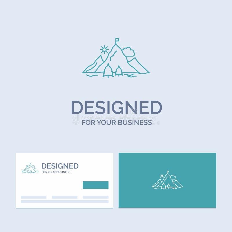 logro, bandera, misión, montaña, negocio Logo Line Icon Symbol del éxito para su negocio Tarjetas de visita de la turquesa con ilustración del vector