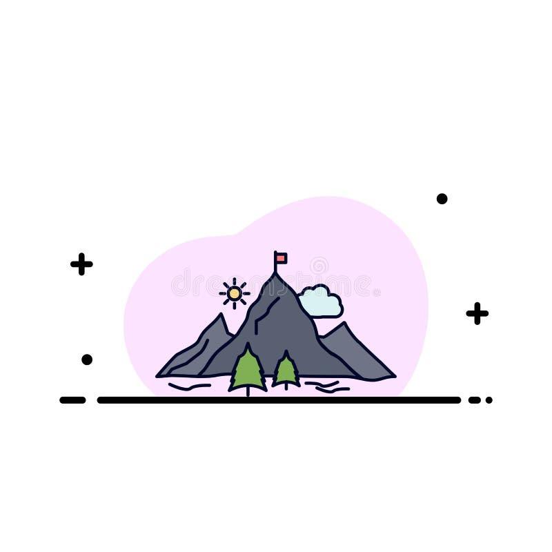 logro, bandera, misión, montaña, vector plano del icono del color del éxito ilustración del vector