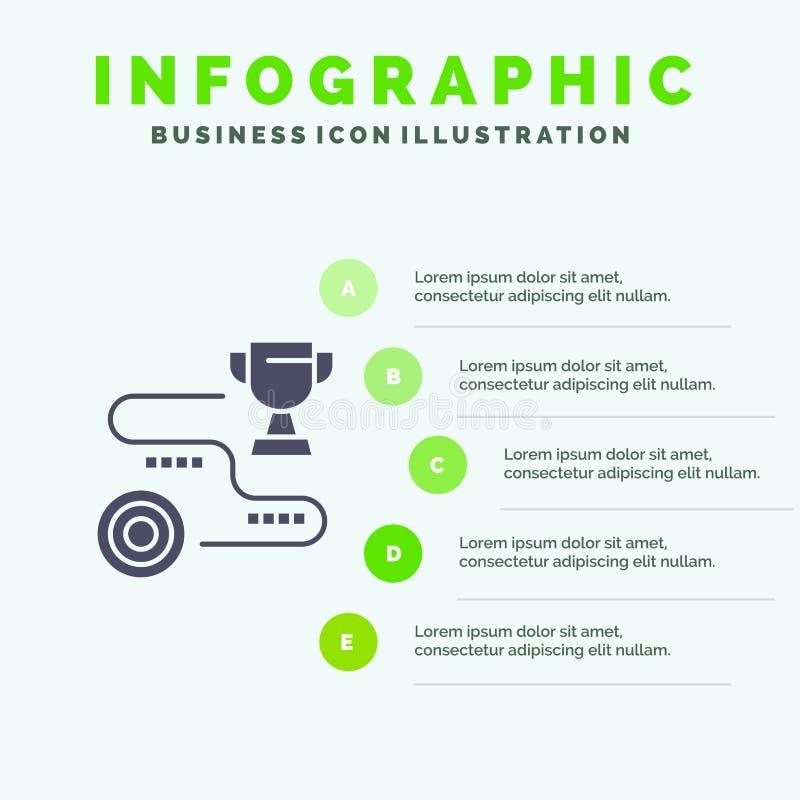 Logro, blanco, éxito, trayectoria, fondo sólido de la presentación de los pasos de Infographics 5 del icono del triunfo libre illustration