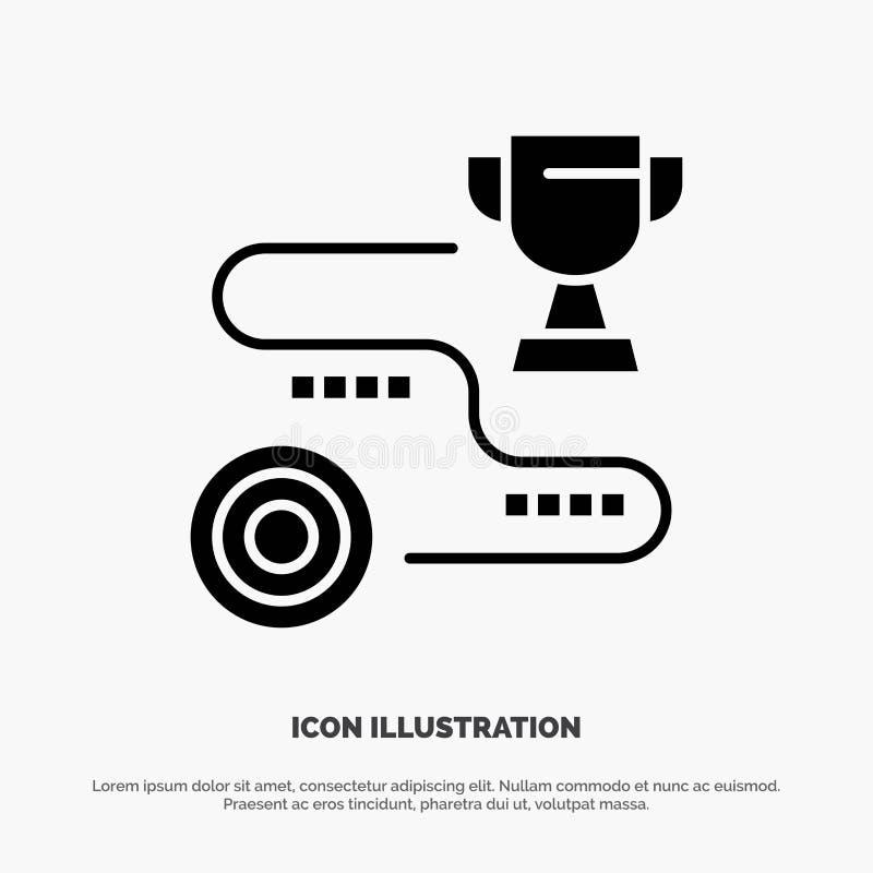 Logro, blanco, éxito, trayectoria, vector sólido del icono del Glyph del triunfo ilustración del vector
