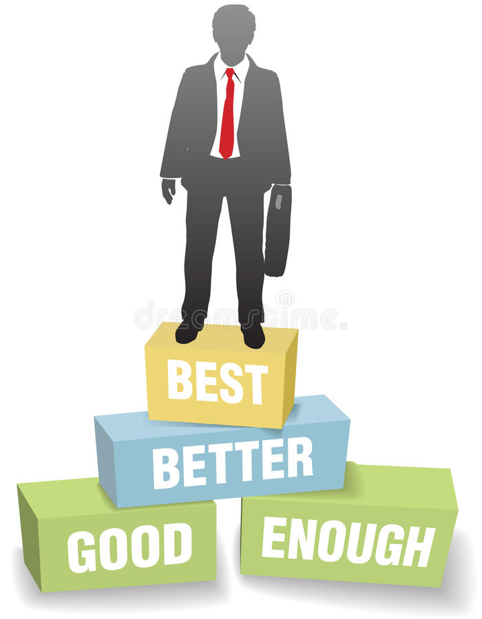 Logro de la persona del asunto buen mejor mejor ilustración del vector