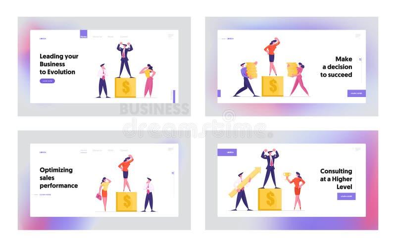 Logro de Objetivo: Logro correcto, Mejor Resultados Financieros Página de Inicio de Sitio Web Conjunto Empresarios honran a coleg libre illustration