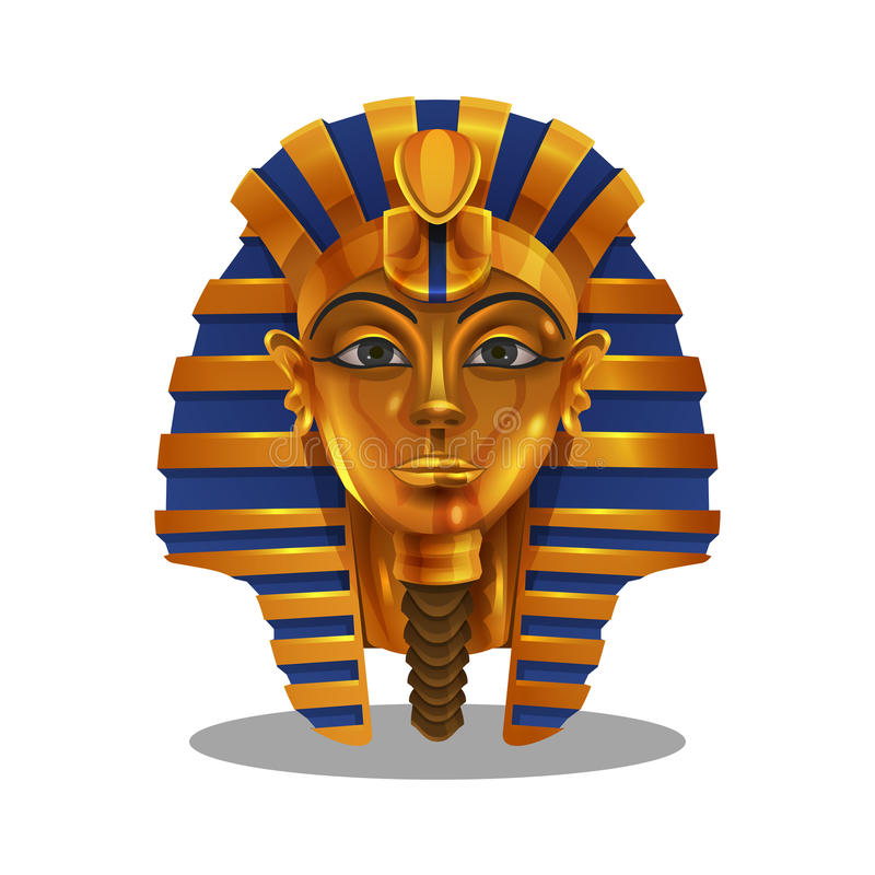Logro de oro de la historieta, estatuilla egipcia del pharoah aislada en el fondo blanco libre illustration