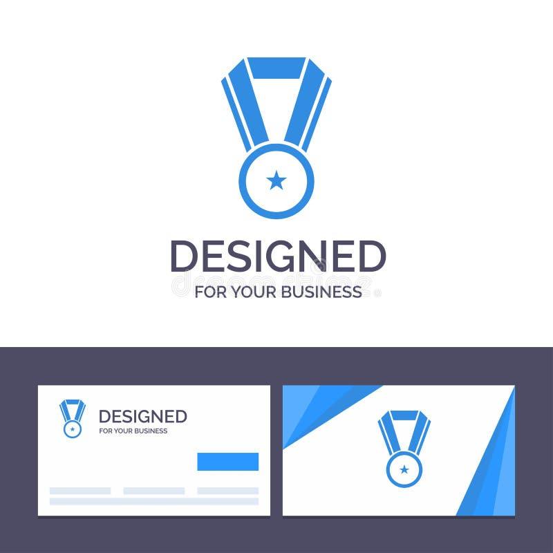 Logro de visita de la plantilla creativa de la tarjeta y del logotipo, educación, ejemplo del vector de la medalla ilustración del vector