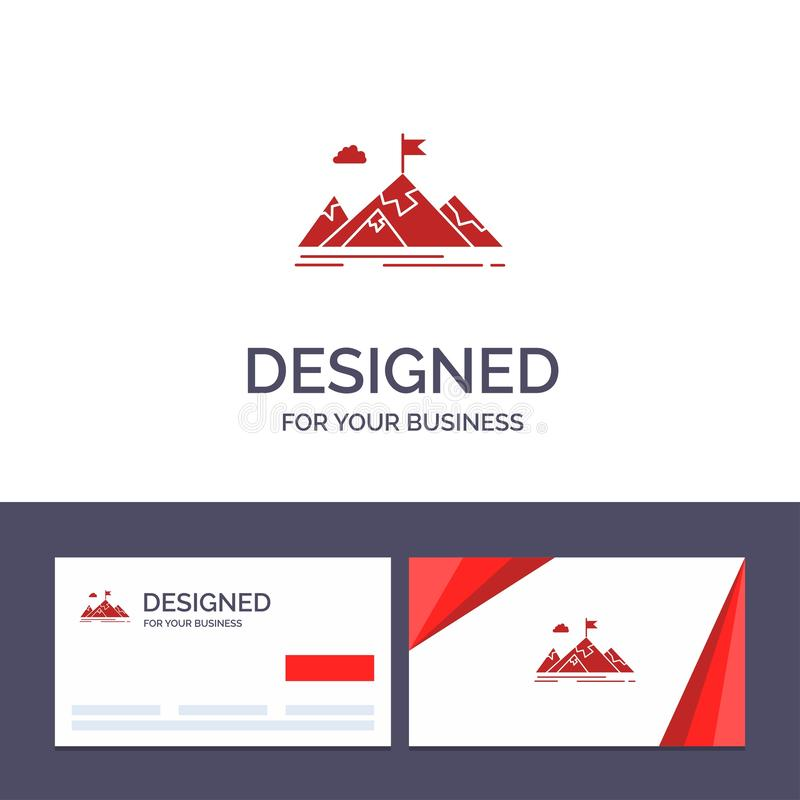 Logro de visita de la plantilla creativa de la tarjeta y del logotipo, objetivo, negocio, meta, misión, montañas, ejemplo del vec stock de ilustración