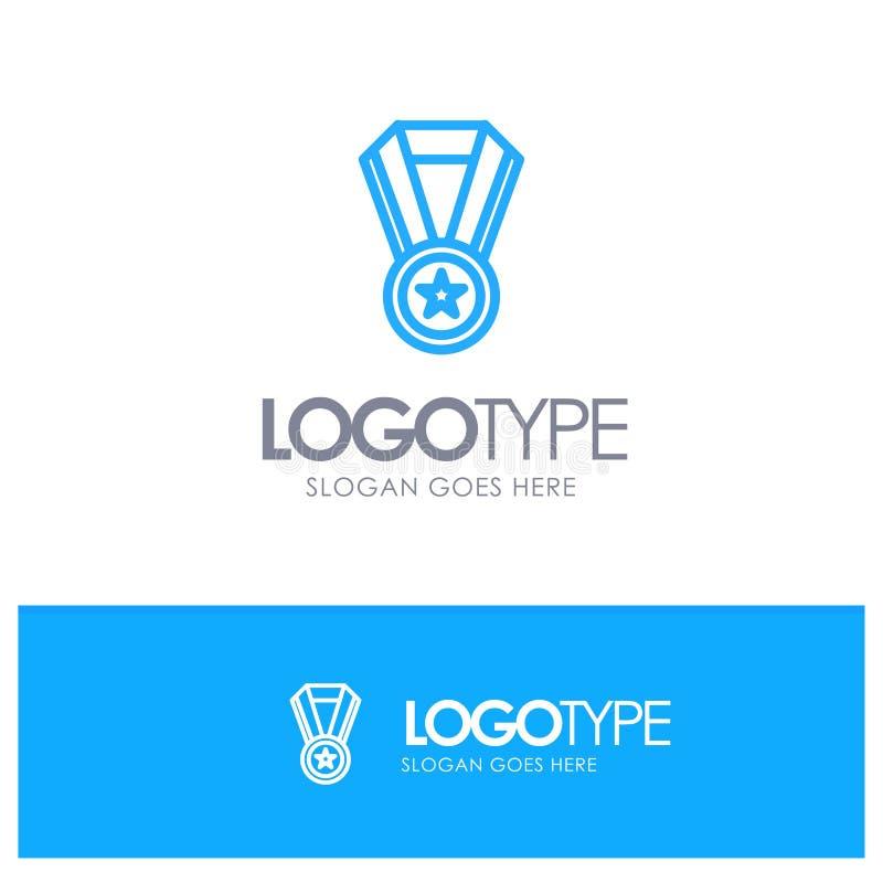 Logro, educación, esquema azul Logo Place de la medalla para el Tagline libre illustration