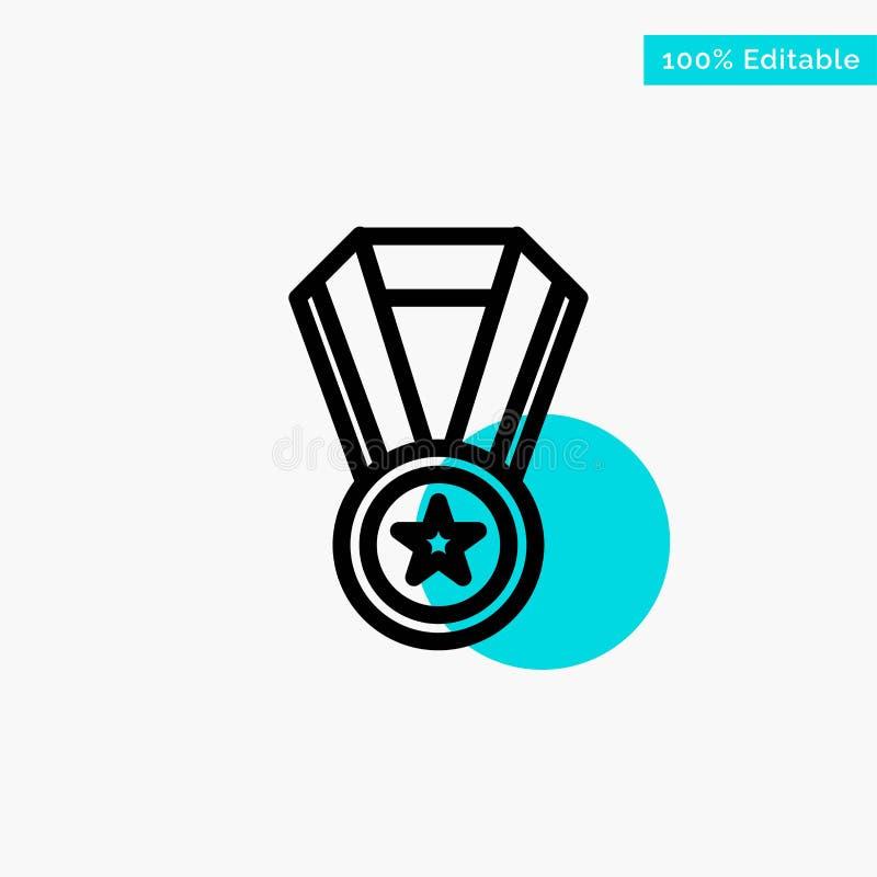 Logro, educación, icono del vector del punto del círculo del punto culminante de la turquesa de la medalla stock de ilustración