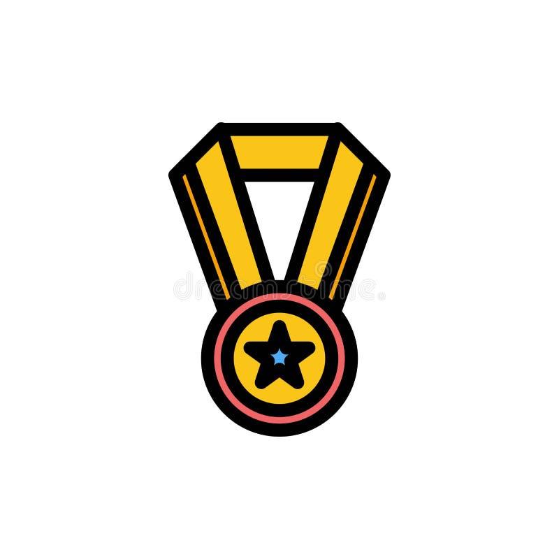 Logro, educación, icono plano del color de la medalla Plantilla de la bandera del icono del vector stock de ilustración