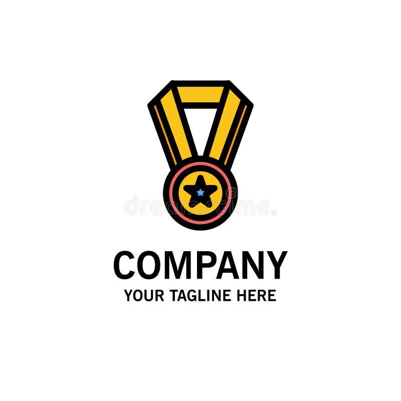Logro, educación, negocio Logo Template de la medalla color plano stock de ilustración