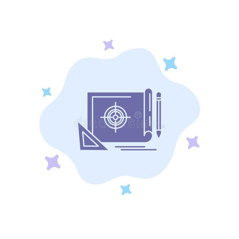 Logro, fichero, blanco del fichero, márketing, icono azul de la blanco en fondo abstracto de la nube libre illustration
