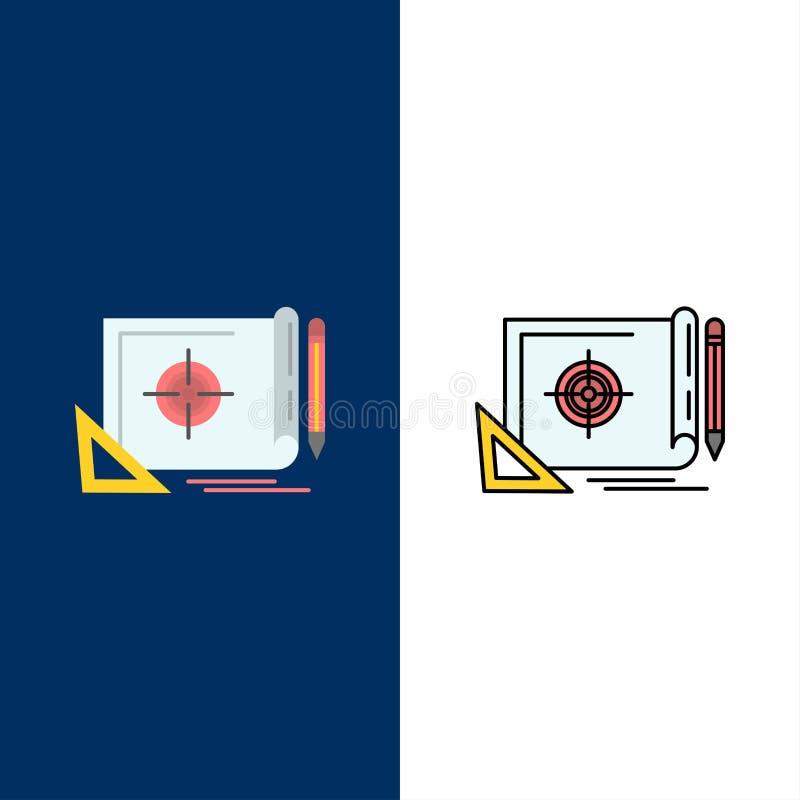 Logro, fichero, blanco del fichero, márketing, iconos de la blanco El plano y la línea icono llenado fijaron el fondo azul del ve stock de ilustración