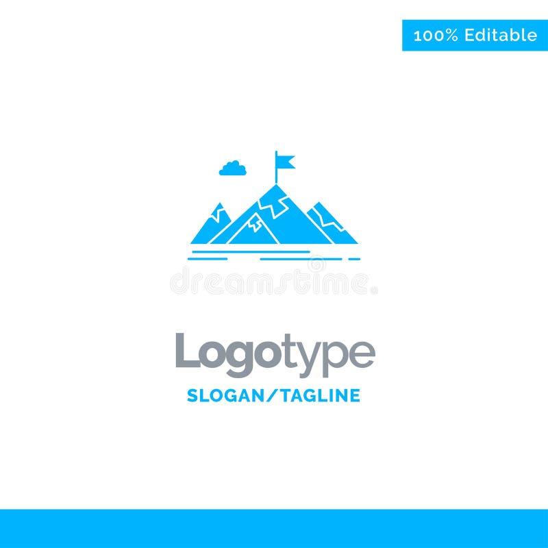Logro, objetivo, negocio, meta, misión, montañas, blanco Logo Template sólido azul Lugar para el Tagline ilustración del vector