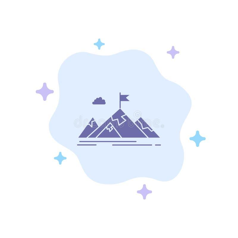 Logro, objetivo, negocio, meta, misión, montañas, icono azul de la blanco en fondo abstracto de la nube stock de ilustración