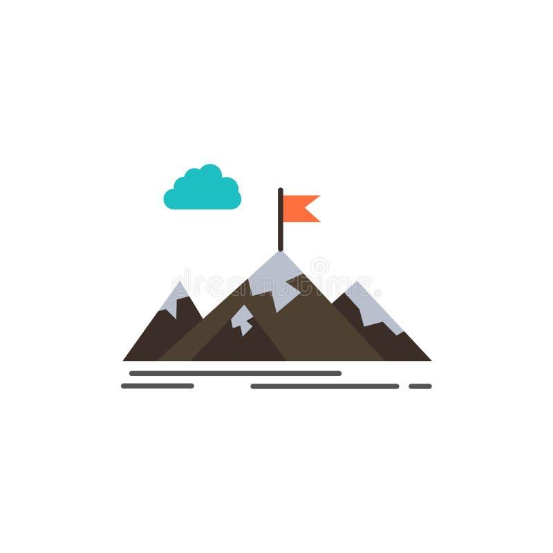 Logro, objetivo, negocio, meta, misión, montañas, icono plano del color de la blanco Plantilla de la bandera del icono del vector ilustración del vector