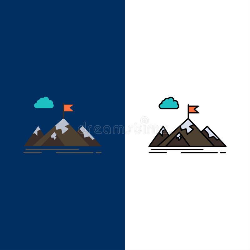 Logro, objetivo, negocio, meta, misión, montañas, iconos de la blanco El plano y la línea icono llenado fijaron el fondo azul del ilustración del vector