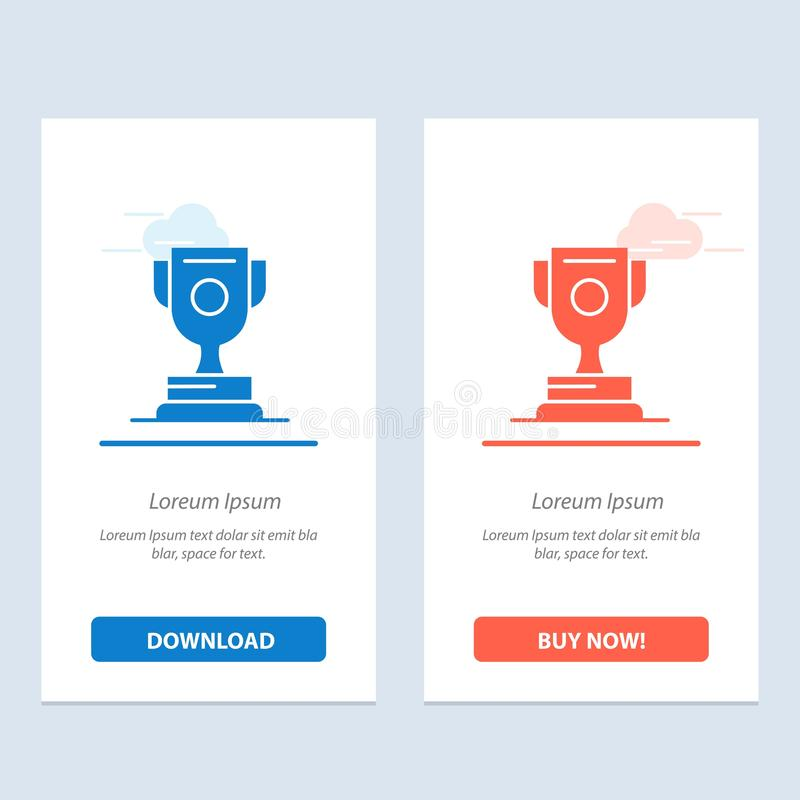 Logro, premio, deporte, azul del juego y transferencia directa roja y ahora comprar la plantilla de la tarjeta del aparato de la  ilustración del vector