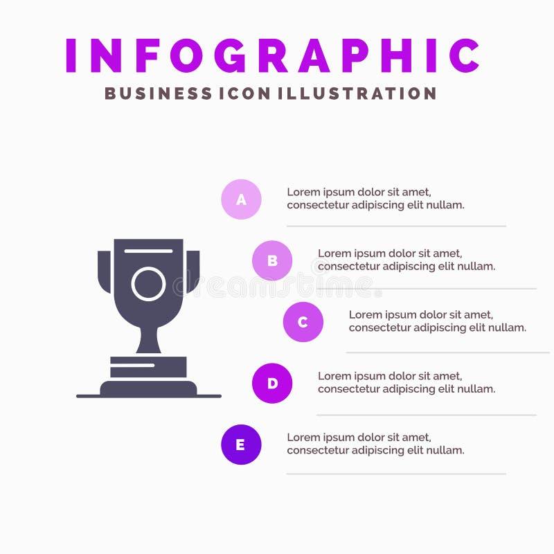 Logro, premio, deporte, fondo sólido de la presentación de los pasos de Infographics 5 del icono del juego ilustración del vector