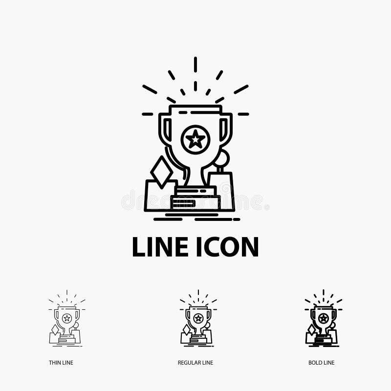 Logro, premio, taza, premio, icono del trofeo en la línea estilo fina, regular e intrépida Ilustraci?n del vector ilustración del vector