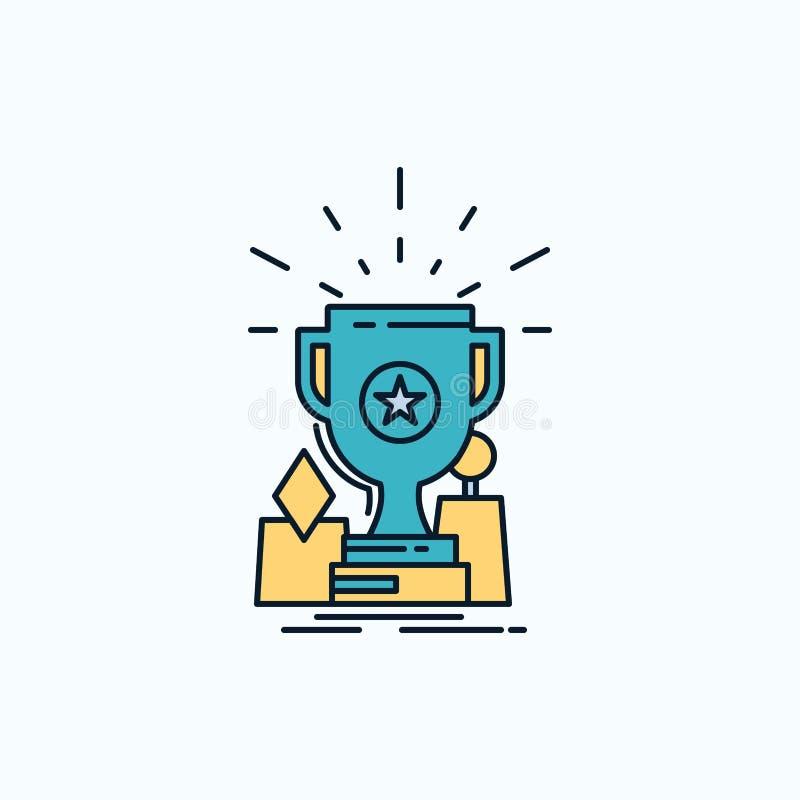 Logro, premio, taza, premio, icono plano del trofeo muestra y s?mbolos verdes y amarillos para la p?gina web y el appliation m?vi libre illustration