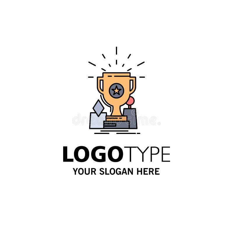Logro, premio, taza, premio, vector plano del icono del color del trofeo stock de ilustración
