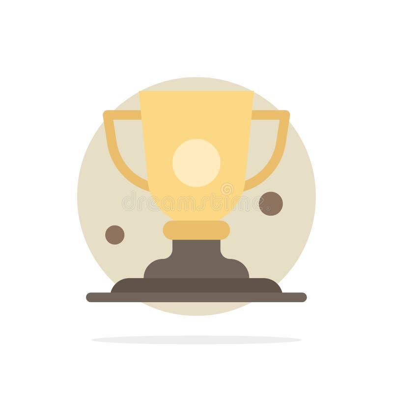 Logro, taza, premio, icono plano del color de fondo del círculo del extracto del trofeo stock de ilustración