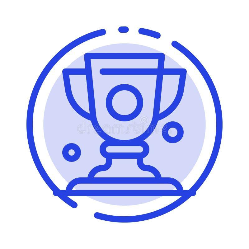Logro, taza, premio, línea de puntos azul línea icono del trofeo stock de ilustración