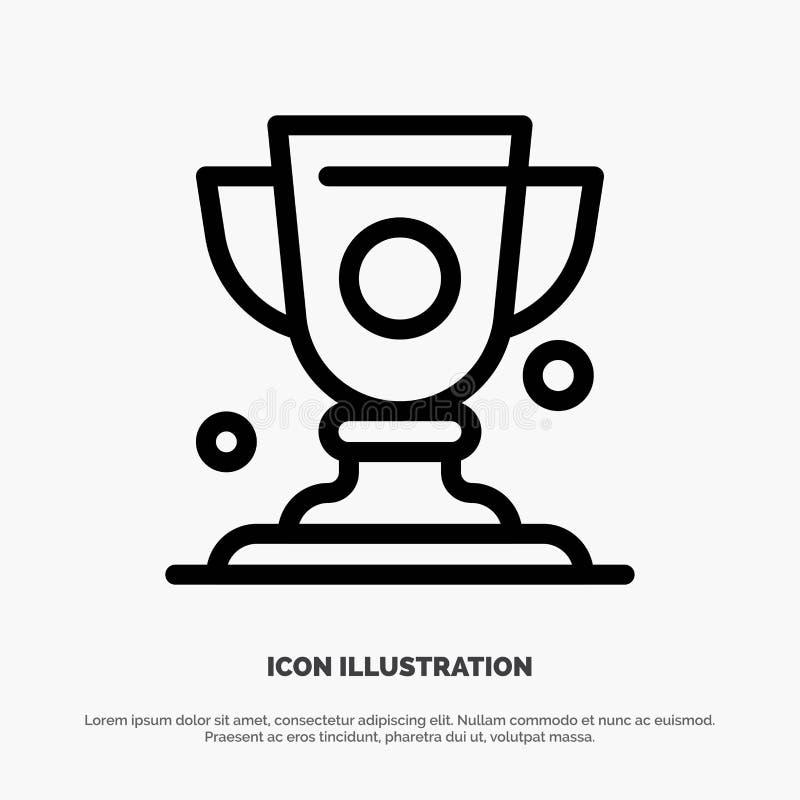 Logro, taza, premio, línea vector del trofeo del icono stock de ilustración
