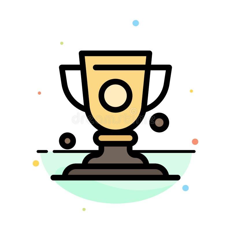 Logro, taza, premio, plantilla plana del icono del color del extracto del trofeo stock de ilustración