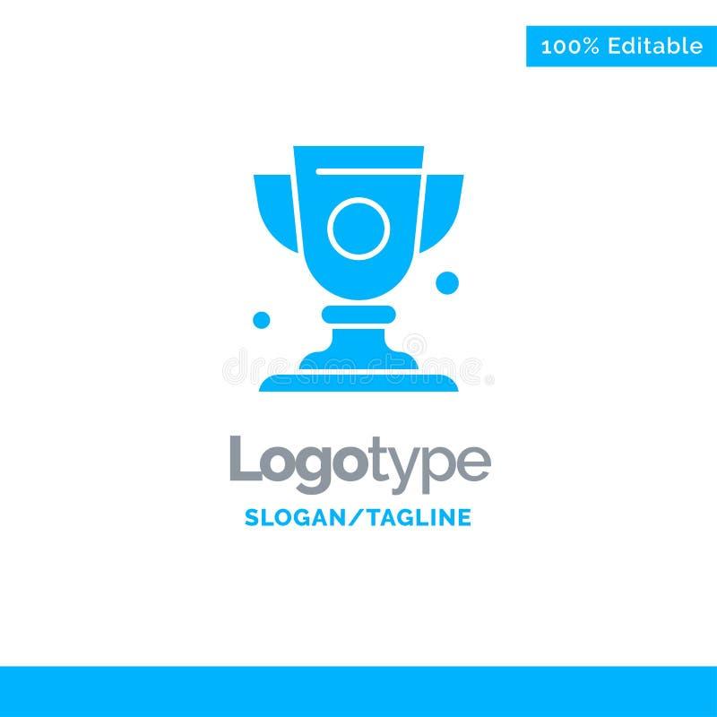 Logro, taza, premio, trofeo Logo Template sólido azul Lugar para el Tagline ilustración del vector